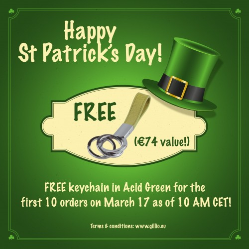 Free keychain in Acid Green for the first 10 orders on St Patrick's Day!