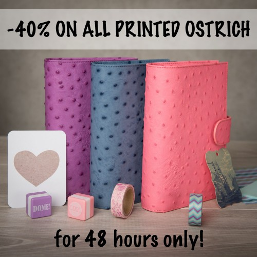 40% off all printed Ostrich leather items